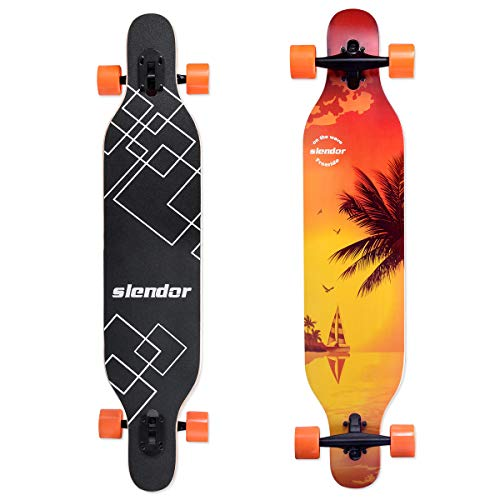 Slendor Longboard Skateboards 42 inch Drop Through Deck Complete Maple