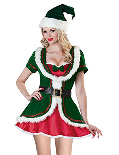 Quesera Women's Santa Helper Costume Adult Christmas Honey Elf Halloween Outfits,Green,one Size fits US Size (Santas Green Helper Sexy Costumes)