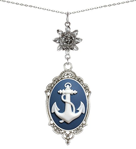 Yspace Lotus Charm Necklace Antique Decor Cameo Pendant 2 Chains Velvet Pouch for Gift (Anchor)