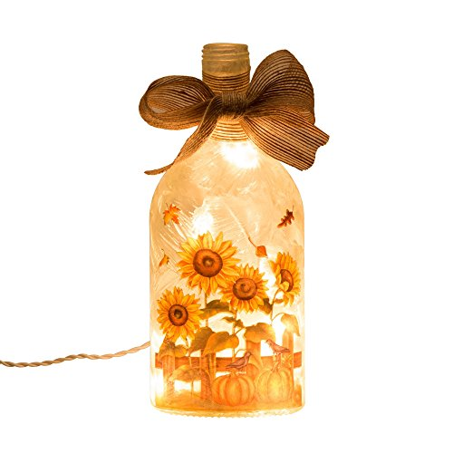 Glitzhome Lighted Frosted Sunflower Bottle product image