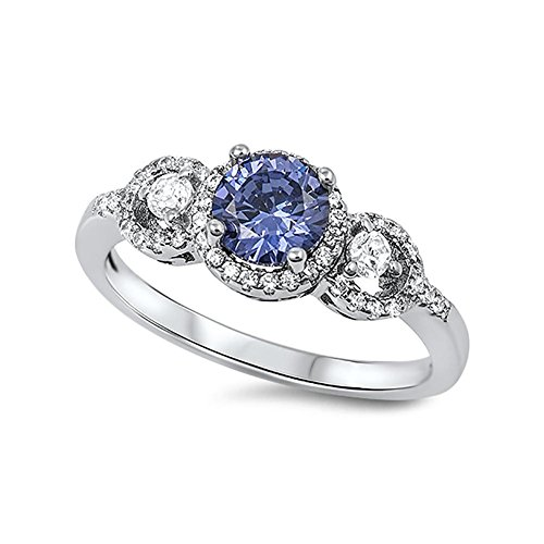 Blue Apple Co. Halo 3-Stone Wedding Engagement Ring Simulated Tanzanite Round Cubic Zirconia 925 Sterling Silver,Size-6