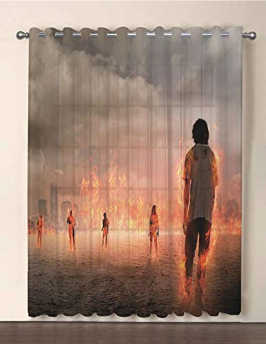 iPrint One Panel Extra Wide Sheer Voile Patio Door Curtain,Zombie Decor,Group of People in Flame in The Water Under Storm Clouds Image,Pearl Egg Shell Vermilion,for Sliding Doors(108