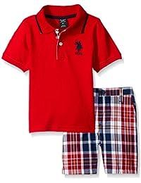 Boys' 2 Piece Big Pony Solid Pique Polo Shirt and Plaid Short