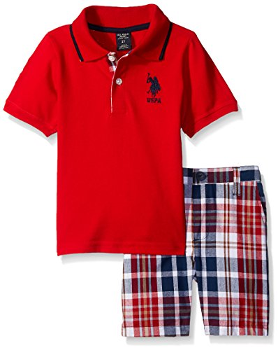 U.S. Polo Assn. Toddler Boys 2 Piece Big Pony Solid Pique Polo Shirt and Plaid Short, Red, 3T
