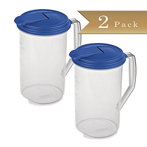 Set of 2 - TrueCraftware Round 2 Quart Pitcher - Clear with Blue Lid (Small Drink Pitcher compare prices)