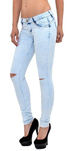 Jean femme skinny dlav bleached Look Jeans femme genou pantalon en jean dchir J273 J273