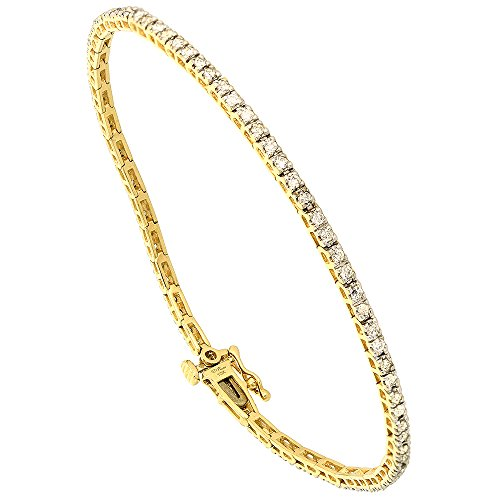 10k Yellow Gold 1 Carat Diamond Tennis Bracelet for Women 1/16 inch wide, 7.25 inch long