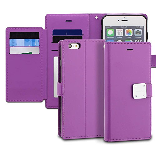 iPhone 6s Plus Case, ModeBlu [Mode Diary Series] [Purple] Wallet Case ID Credit Card Cash Slots Premium Synthetic Leather [Stand View] for Apple iPhone 6s Plus & 6 Plus, 5.5 inch