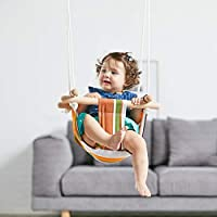 HAPPY PIE PLAY&ADVENTURE Secure Canvas Hanging Swing Seat Indoor Outdoor Hammock Toy for Toddler (Yellow)