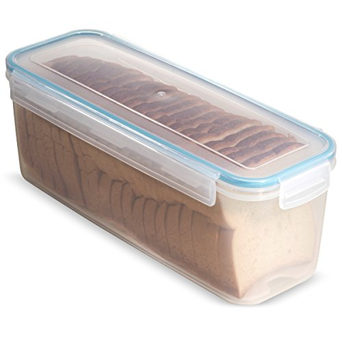 Komax Biokips Sandwich Bread Box With Tray 118.3 oz. - Airtight, Leakproof With Locking Lid - BPA Free Plastic Food Storage Container- Freezer and Dishwasher Safe great for Buns and Kaiser rolls