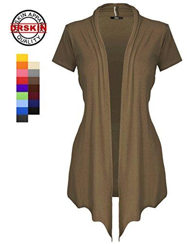 [DRSKIN] WS02-2 Women's Open front - short sleeve Knit Cardigan (2XL, Mocha)