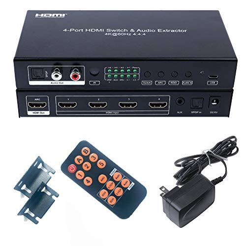DTECH 4X1 HDMI 2.0 Switch 4K 60Hz 4:4:4 HDR 18Gbps Audio Extractor with SPDIF Optical Toslink L/R RCA Output IR Remote HDCP 2.2 ARC CEC - 4 in 1 Out ()