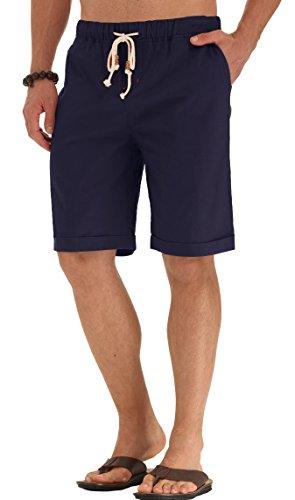 NITAGUT Men's Linen Casual Classic Fit Short Navy Blue L by NITAGUT (Image #4)