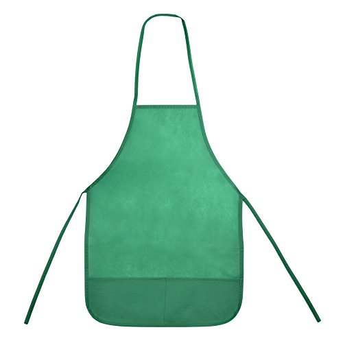 Opromo 12-Pack Non Woven Colorful Kids Apron for DIY Painting Drawing Artist Available in Two Sizes(S/M)-Green with Pockets-S