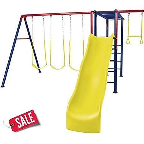 Amazon Com Metal Swing Set With Tall Slide Adventure Park