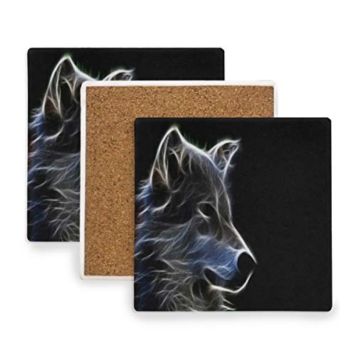 Light Wolf Head Fancy Coasters, Protect Your Furniture from Stains,Coffee, Wood Coasters Funny Housewarming Gift,Square Cup Mat Pad for Home, Kitchen or Bar 1 Piece