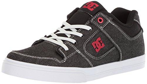 DC Boys' Pure Elastic TX SE Skate Shoe, Black/Red/White, 10.5 M US Little (Dc Pure Boys Shoes)