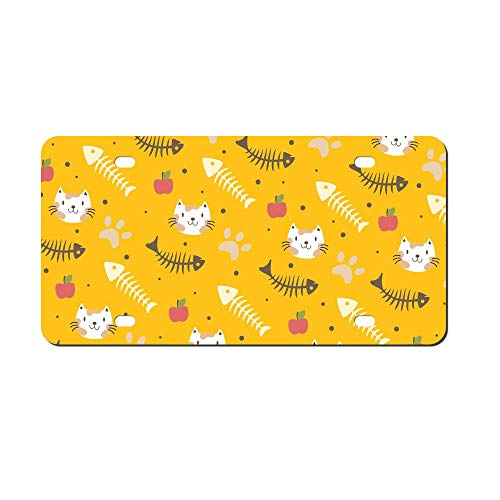 DKISEE Abstract Fish Bone and Cat Pattern License Plate Cover Aluminum Car Front License Plate