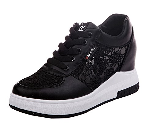 Respirant Haut Vecjunia Mesdames Coincent Cheville Chaussure De Classiques Mesh Lacent Haut Noir Talon Formateurs Tq7nTx1A