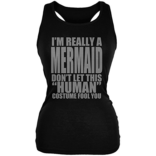 Halloween Human Mermaid Costume Black Juniors Soft Tank Top - 2X-Large for $<!--$15.95-->