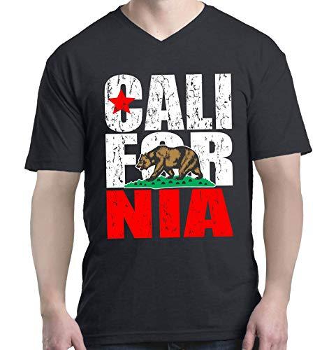 Shop4Ever California State Flag Bear Men's V-Neck T-Shirt XX-Large Black 0 from Shop4Ever