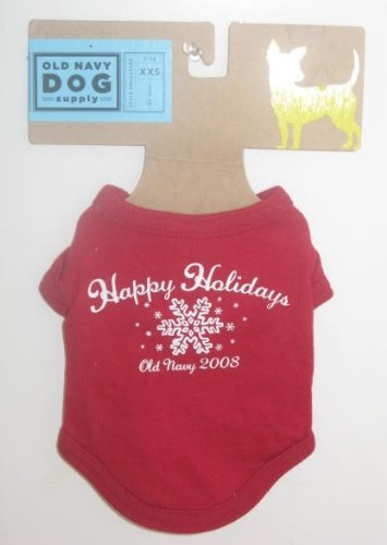 Old Navy Dog Supply Happy Holidays 2008 Christmas Shirt - Red XXS Under 5 Pounds for $<!--$7.94-->