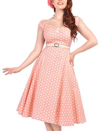 Punkte Kleid Dolores weißen Pinkton Swingkleid Dots Heller Damen Collectif mit tOqwTT