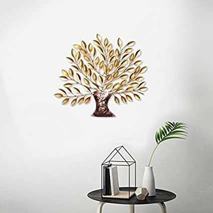aa71c628e6 Buy Collectible India Metal Decorative Golden Tree of Life Wall Decor and Hanging  Mounted Art Sculpture Home Office (Size 16 x 16 inches) Online at Low ...