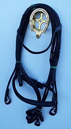 VRTACK Rolled Leather Dressage Double Bridle with Reins - Full (Rolled Bridle)