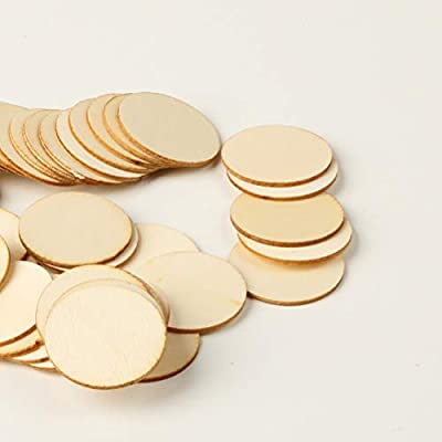 50pcs Natural Wood Pieces Slice Round Unfinished Wooden Discs for Crafts Centerpieces DIY Ornaments: Everything Else