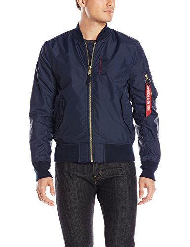 Alpha Industries Men's MA-1 Skymaster Water Resistant Flight Bomber Jacket, Replica Blue, Small by Alpha Industries