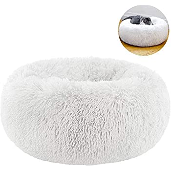 TINTON LIFE Luxury Faux Fur Pet Bed for Cats Small Dogs Round Donut Cuddler Oval Plush Cozy Self-Warming Cat Bed for Improved Sleep, White S