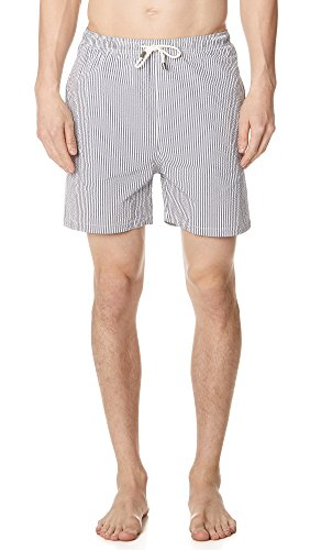 Solid & Striped Men's The Classic Seersucker Trunks, Navy, Medium by Solid & Striped