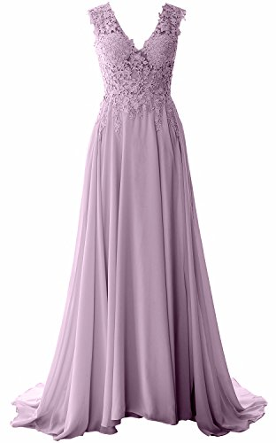 Lace Dress Gown Long Neck Formal MACloth Prom Evening Chiffon Wisteria Vintage Elegant V xCqwCXt0Pp