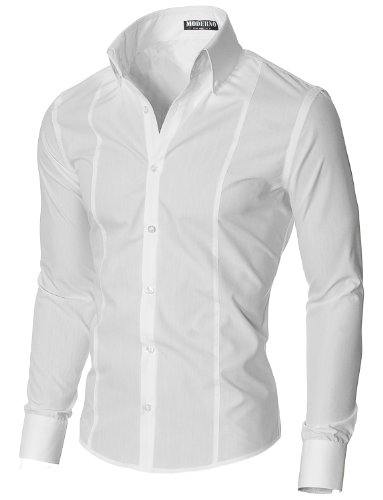 MODERNO Mens High Collar Dress Shirt – Slim Fit, Long Sleeve, Button Down