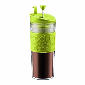 Bodum Insulated Plastic Travel French Press Coffee and Tea Mug, 0.45-Liter, 15-Ounce, Green