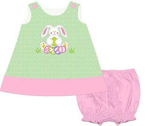 Price comparison product image Babeeni Girls Green Stripe Easter Bunny Applique Panty Dress Infant Toddler (6 Months)