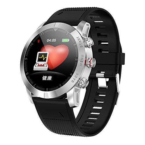 YiMiky Smart Watch 1.3inch IP68 Waterproof Bluetooth 4.2 Smartwatch, Advanced Unique Design Style Smart Watch Heart Rate Monitoring Compass Fitness Tracker Sport Watch for Kids Women Men -Silver 1