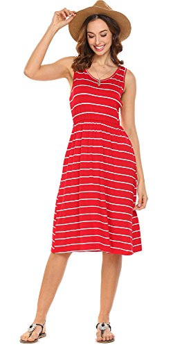 4147291bec5fc Hount Women s Summer Sleeveless Striped Empire Waist Loose Midi Casual Dress  With Pockets