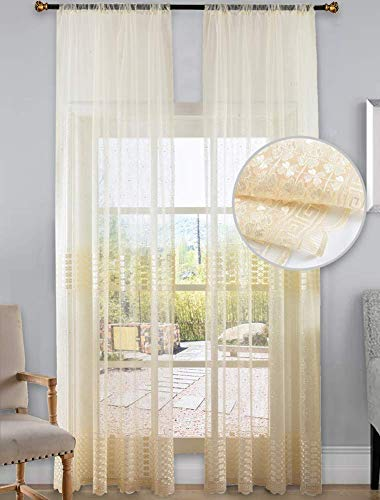 - Aside Bside Sheer Curtains Clover Embroidered Elegance Window Treatment Rod Pocket Voile Panels for Living Room & Bedroom(1 Panel, W 50 x L 90 inch, White) -X0635C1FFFWHX65090-8516