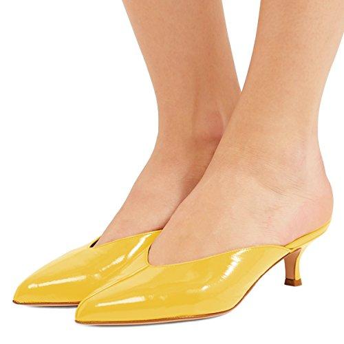 XYD Women Mule Slide Sandals Low Kitten Heel Pointed Toe Slip On Patent Slipper Shoes Size 10 Yellow (Mule Kitten)