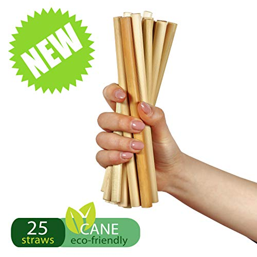 100% Biodegradable & Compostable Eco Friendly Long Cane Straws - Pack of 25 - Natural and Disposable Drinking Smoothie Straws - Better Alternative to Plastic, Paper, Stainless-Steel, Silicone & Glass