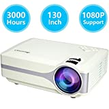 Projector J02 Black, Small LED Power More Than 30000 Hours 130 Inch Large Image Led Home Projector Support 1080P Multimedia Home Theater Projector Multimedia Projector Support HD 1080P for PC Laptop