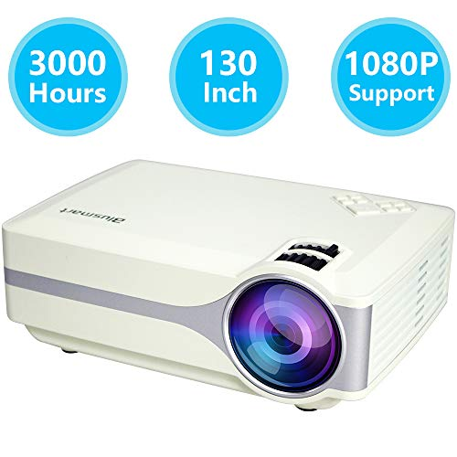 Projector J02 Black, Small LED Power More Than 30000 Hours 130 Inch Large Image Led Home Projector Support 1080P Multimedia Home Theater Projector Multimedia Projector Support HD 1080P for PC Laptop by Topfoison
