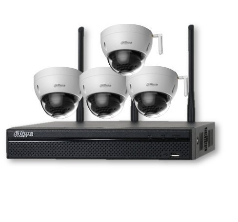 Dahua NVR KIT:NVR4104HS-W-S2 and 4-HDBW1320E-W(4 CH 1080P WiFi Network Surveillance Security System+3MP IR Mini-Dome Wi-Fi Network - Kit Dome Ir Dual