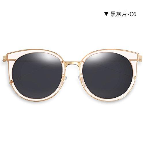cumpleaños gafas Redonda Película coche mujeres viento De Llztyj gafas Gafas luz Sol polarizado Mujer Sol decoración Sol Larga Ash mujer regalo Reflexiva Azul Cara Hielo Sol Black Yvnw1
