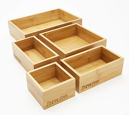 5-Piece Bamboo Storage Box & Organizer Set - Thomas Grace Homewares. Multi-Sized Set of 5 Bamboo Boxes Perfect for Kitchen, Office, Jewellery, Junk, Bath/Bedroom Drawers, or Anywhere Around The ()