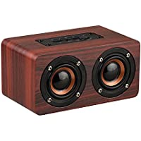 TOMROAD Portable 10W Wooden Bluetooth Speaker Wireless Stereo Loudspeaker Outdoor Music Player Built-in Microphone Support TF card AUX Hands-free for iphone, Phones, iPad and Tablet