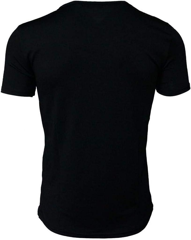 Mens Causal Printed T-Shirt Summer Slim Fit Blouse Print Short Sleeved Top
