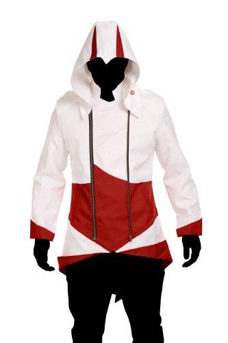 1stvital Cosplay Costume Uniform Jacket Zipper Coat,White & Red (Women-M)